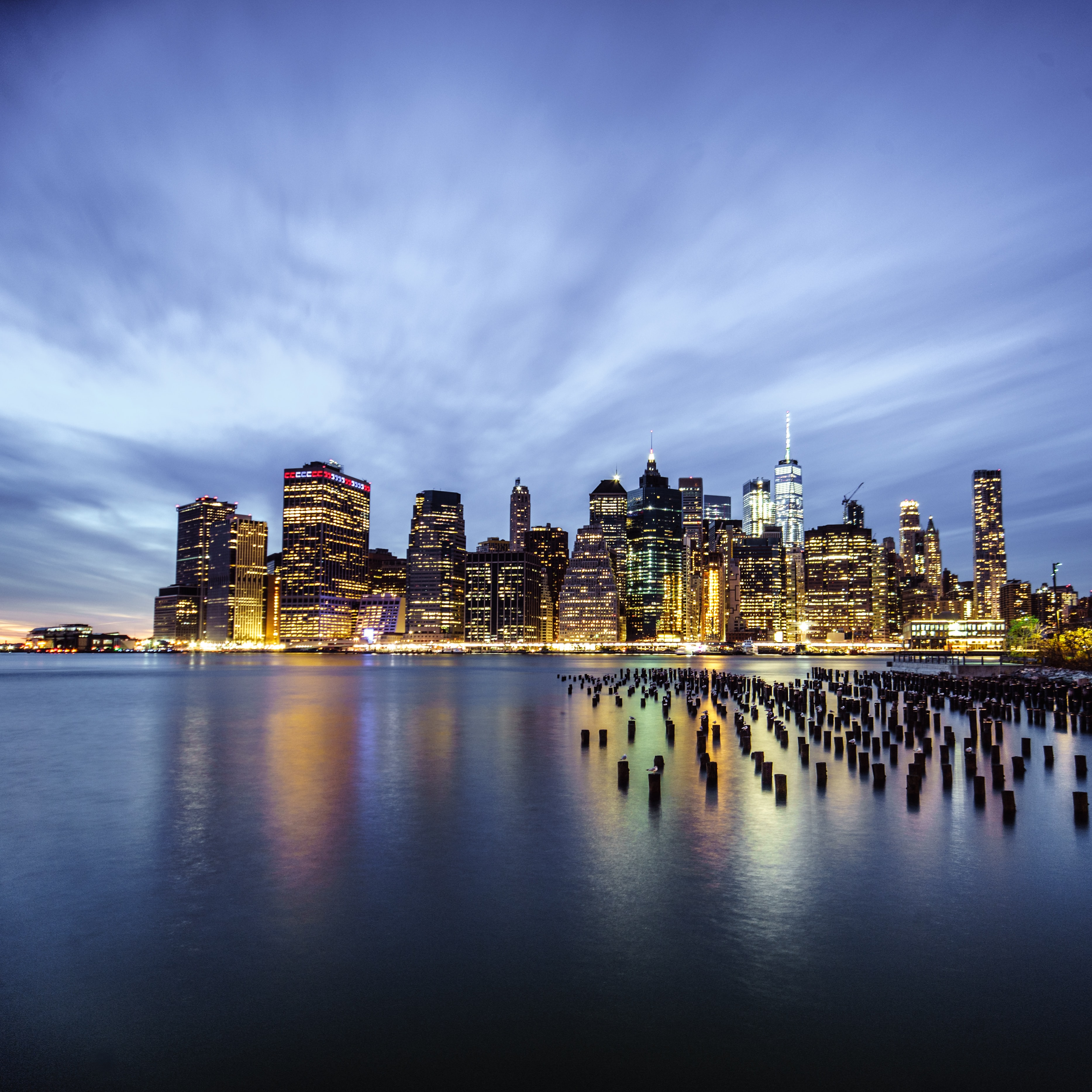 New York cityscape near body of water