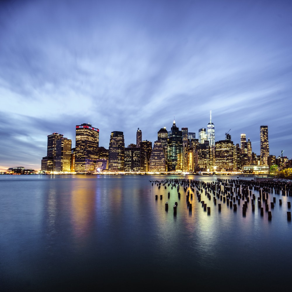 New York cityscape near body of water