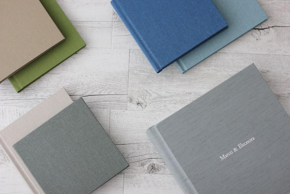 assorted-color hardbound books