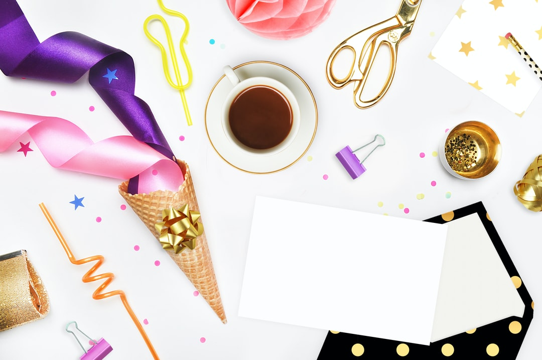 Flat lay. Party style, styled stock photo