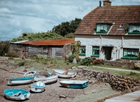 Cottages and boats, low tide