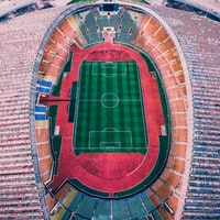 aerial shot photo of soccer field