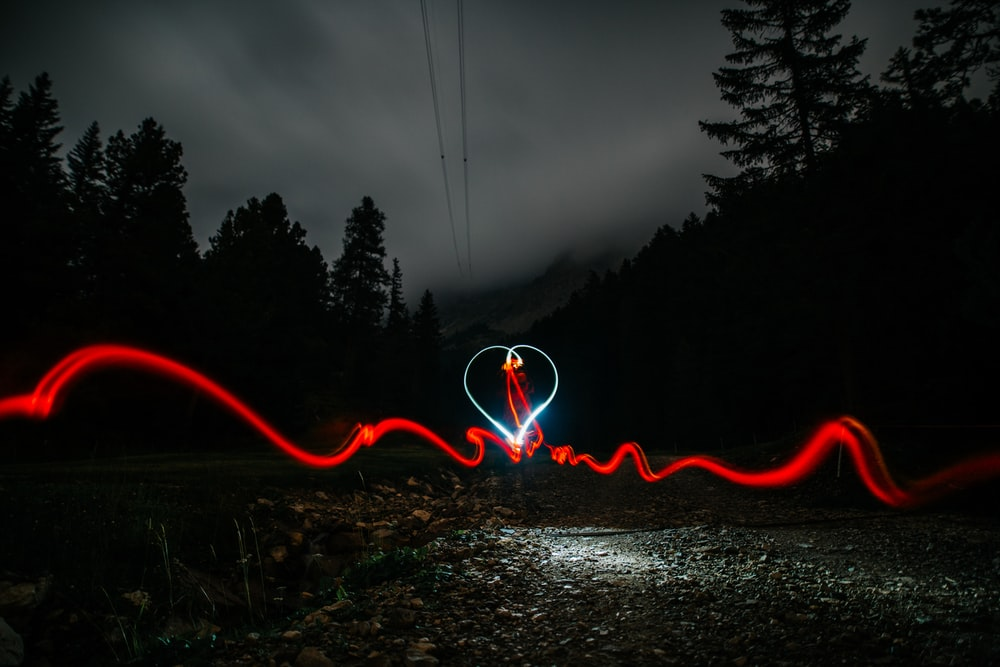 timelapse of heart shape with silhouette of trees
