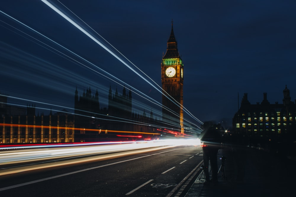 time lapse photography of road near Elizabeth's tower