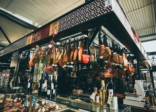 hanging meat near bar counter