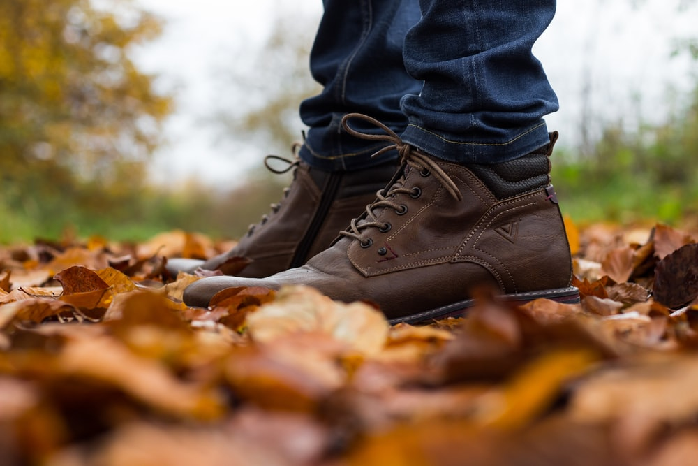 pair of brown lace-up shoes