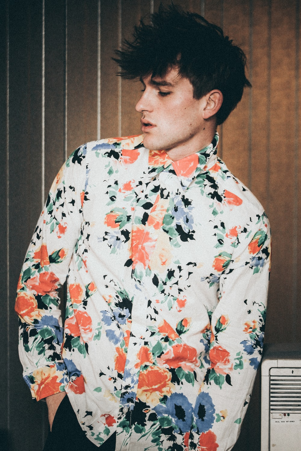 multicolored floral dress shirt