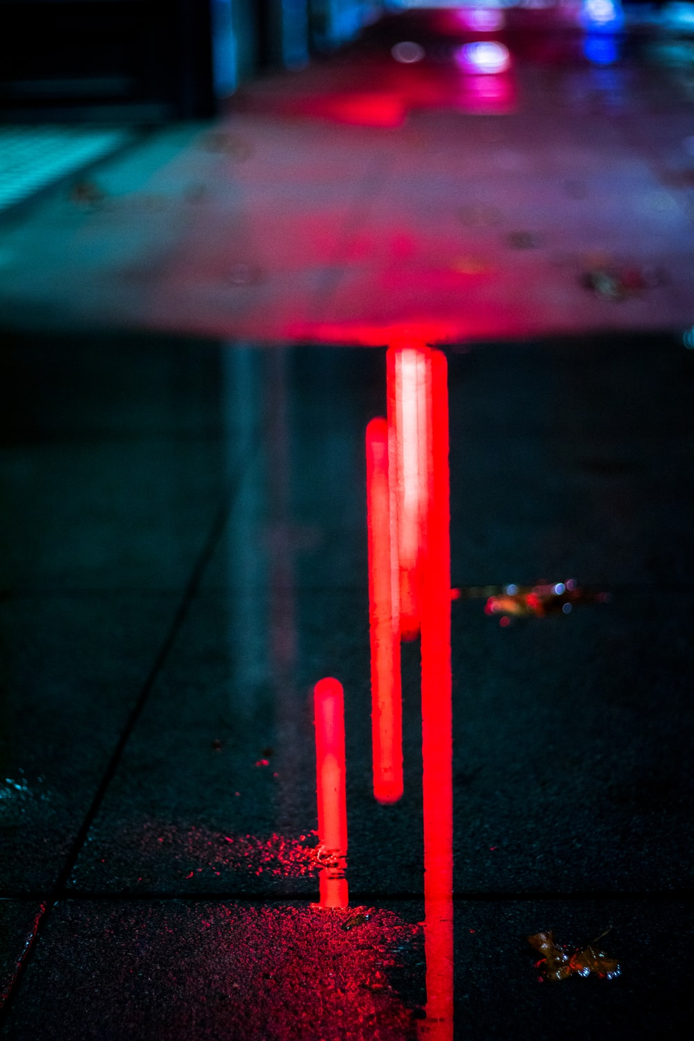 red light reflected on floor