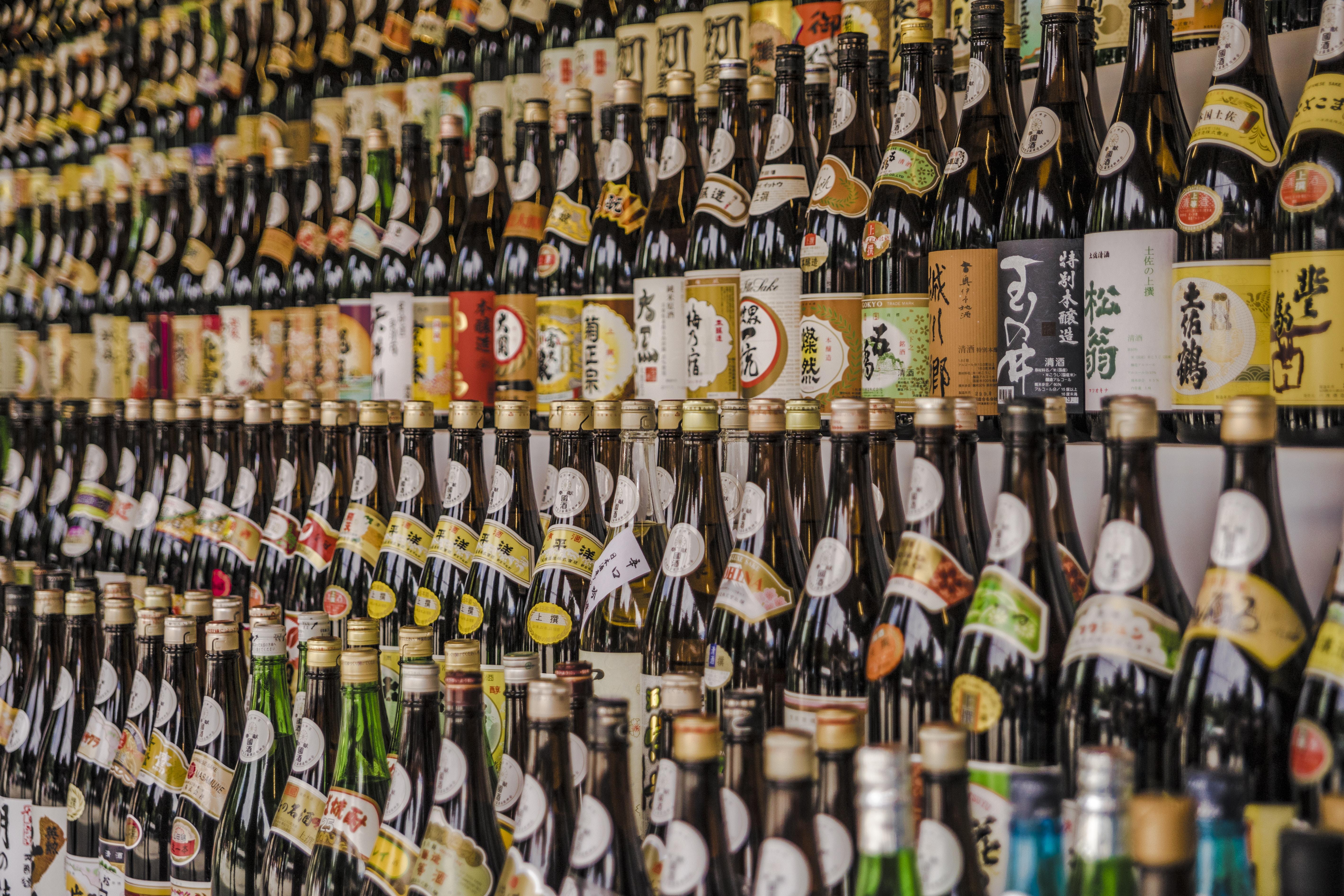 assorted-brand liquor bottle display