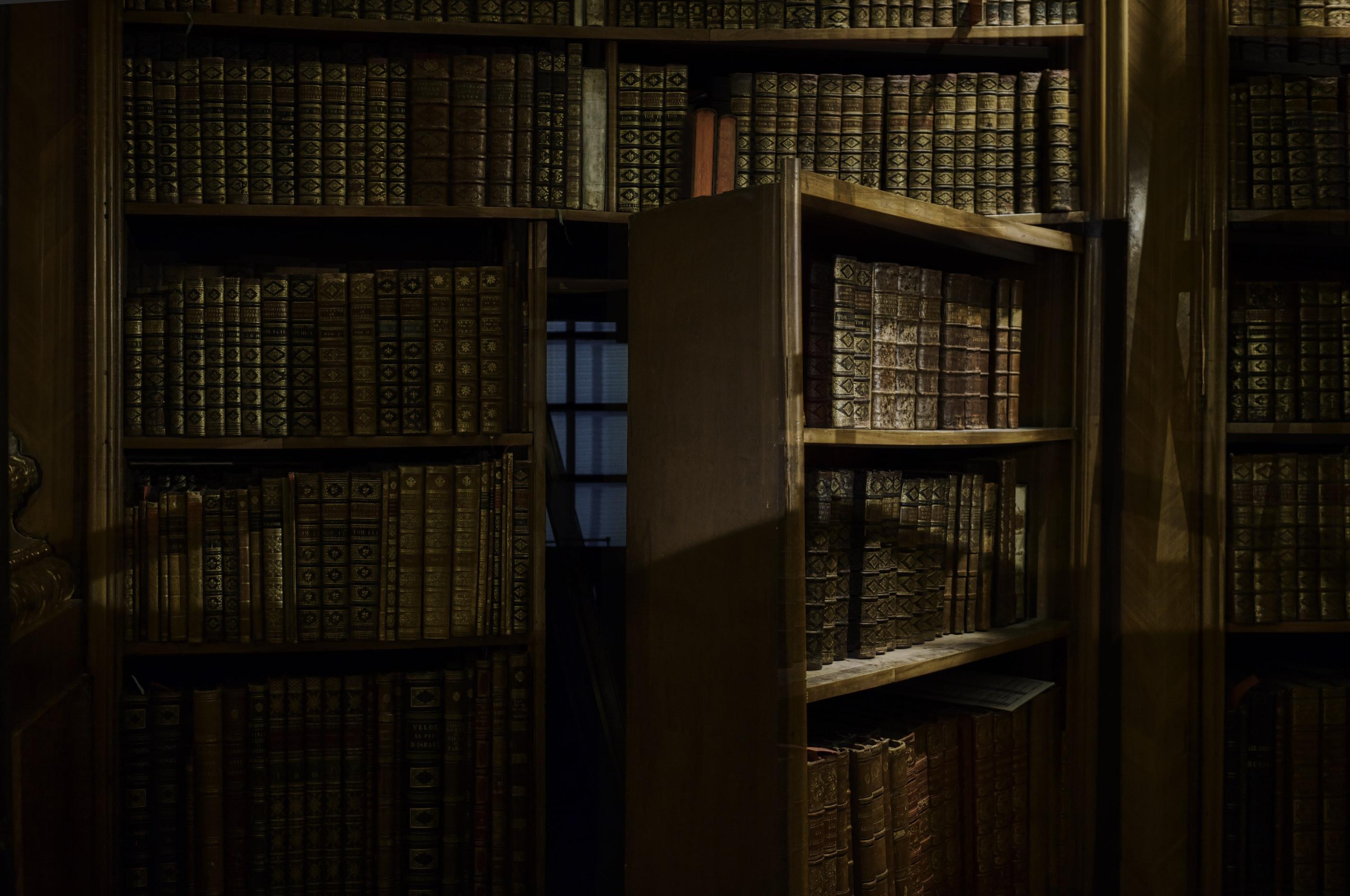 Shortcut through a secret bookshelf door