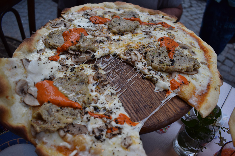 pizza sliced in half