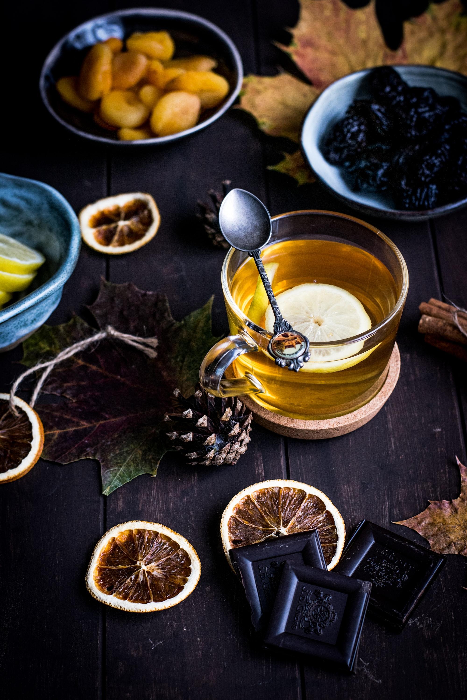Tea with lemon in autumn mood