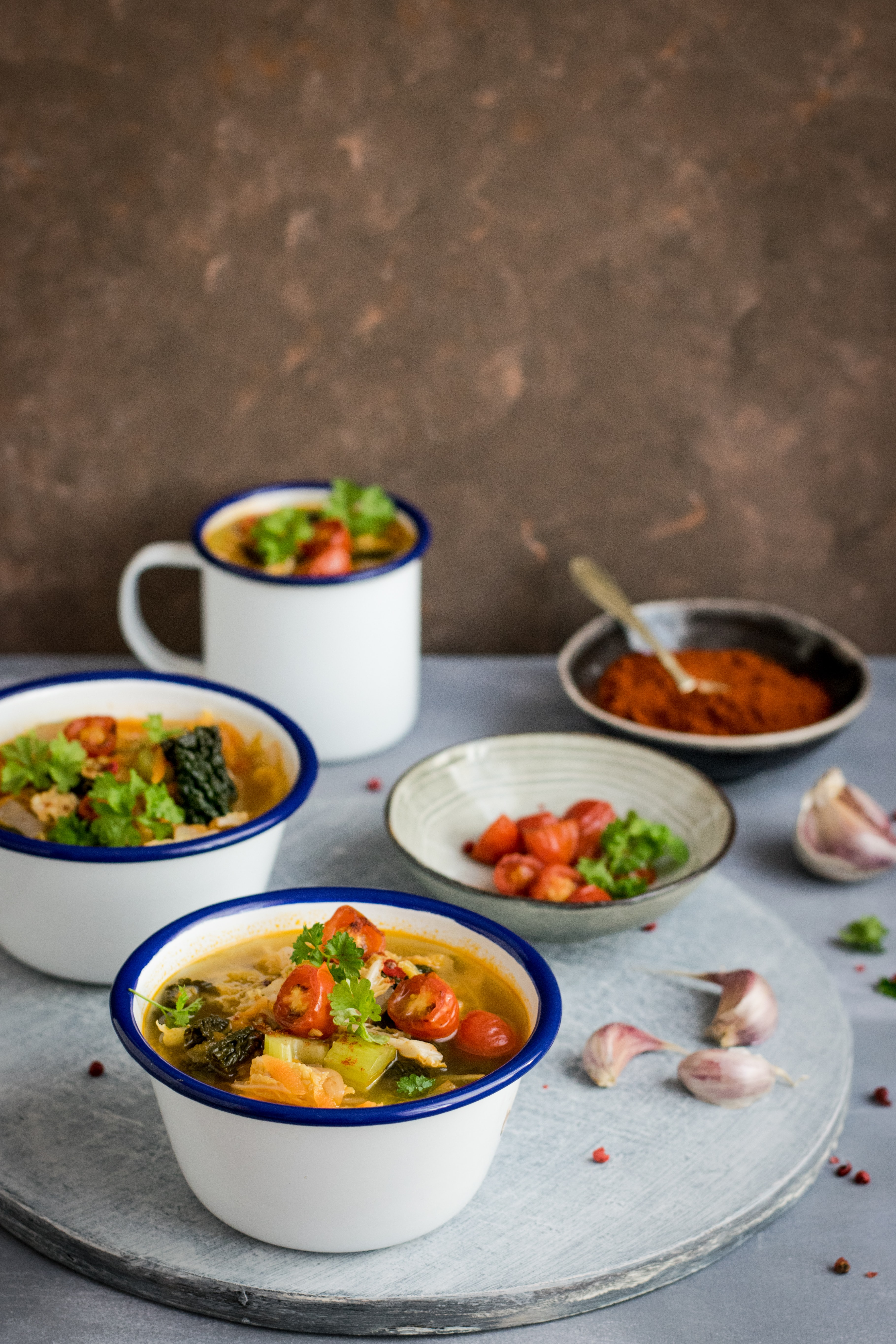 food dishes served on cups and saucer