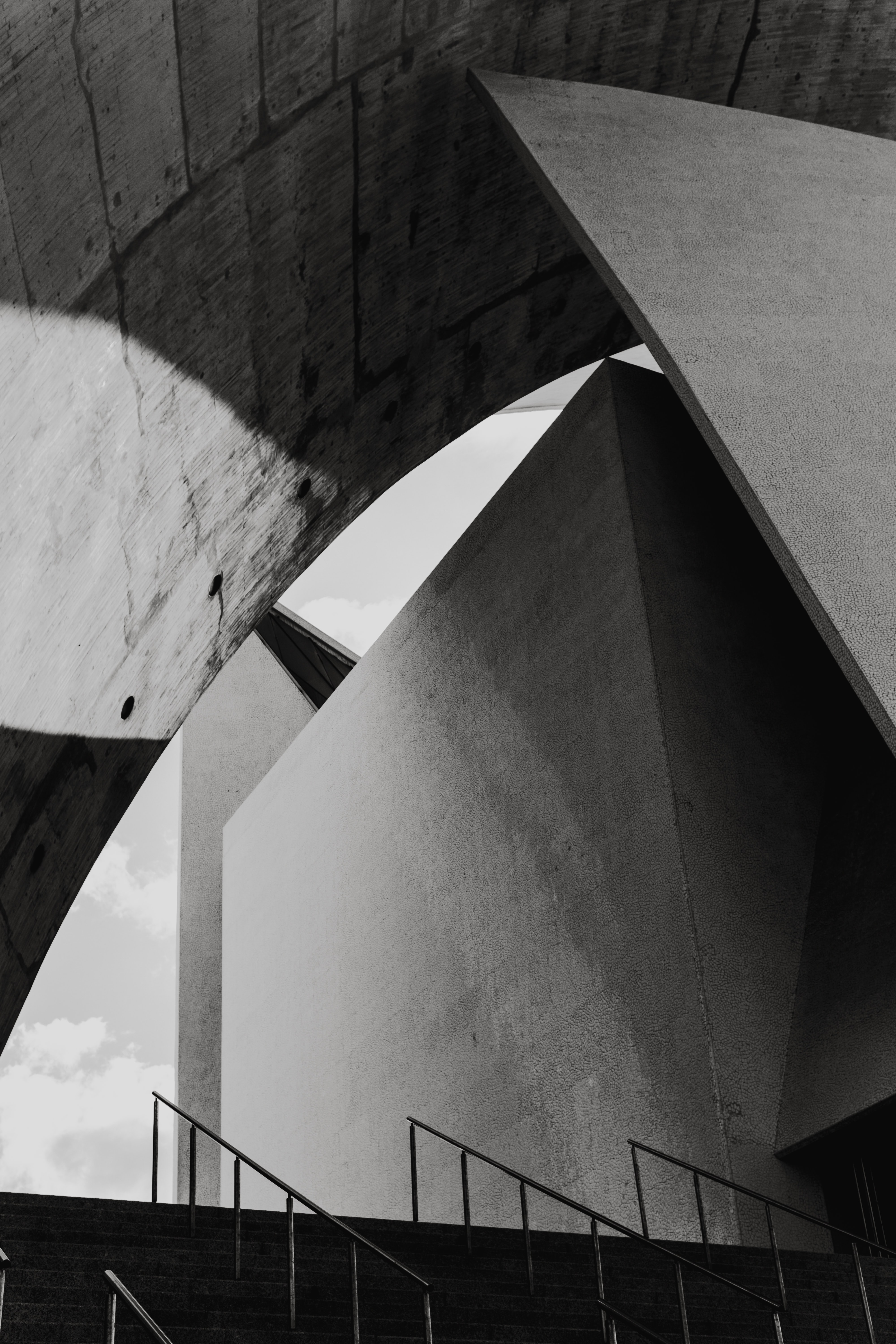 grayscale photography of architectural design