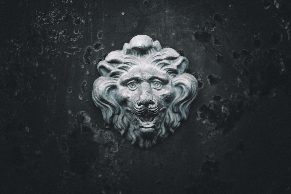 gray concrete lion head decor