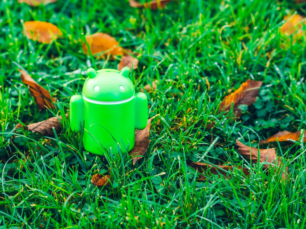green Android robot toy on grass