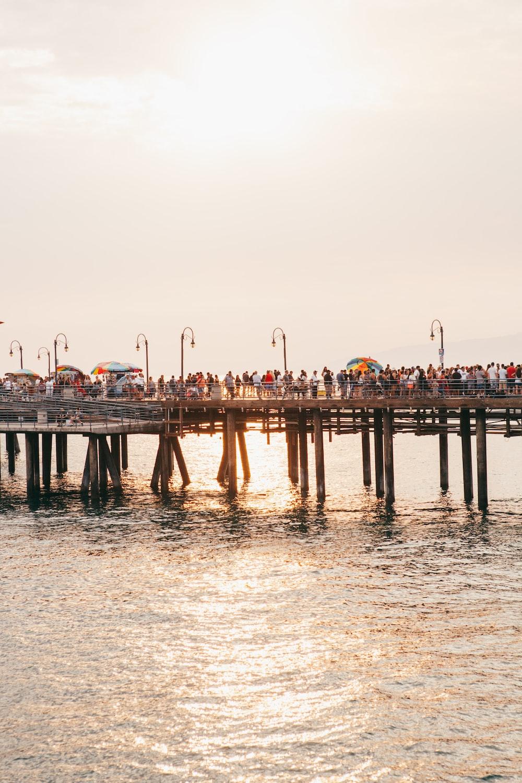 people on gray wooden walk bridge