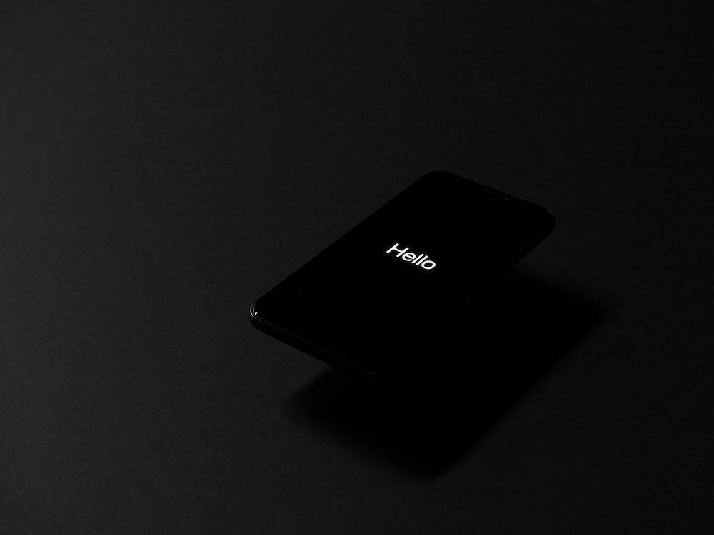 black iPhone turned on
