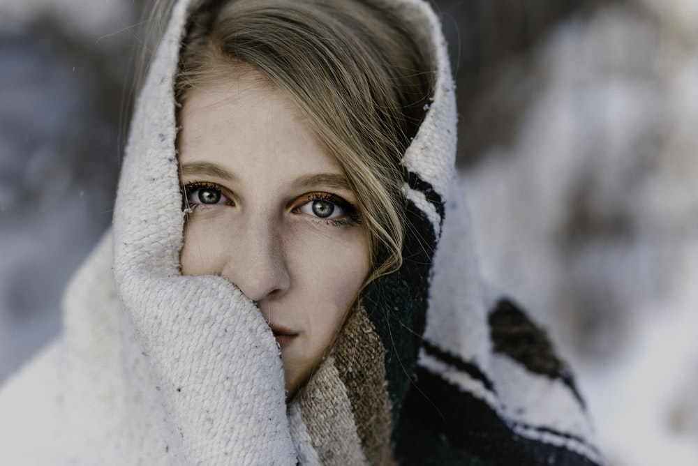woman wrapped with scarf