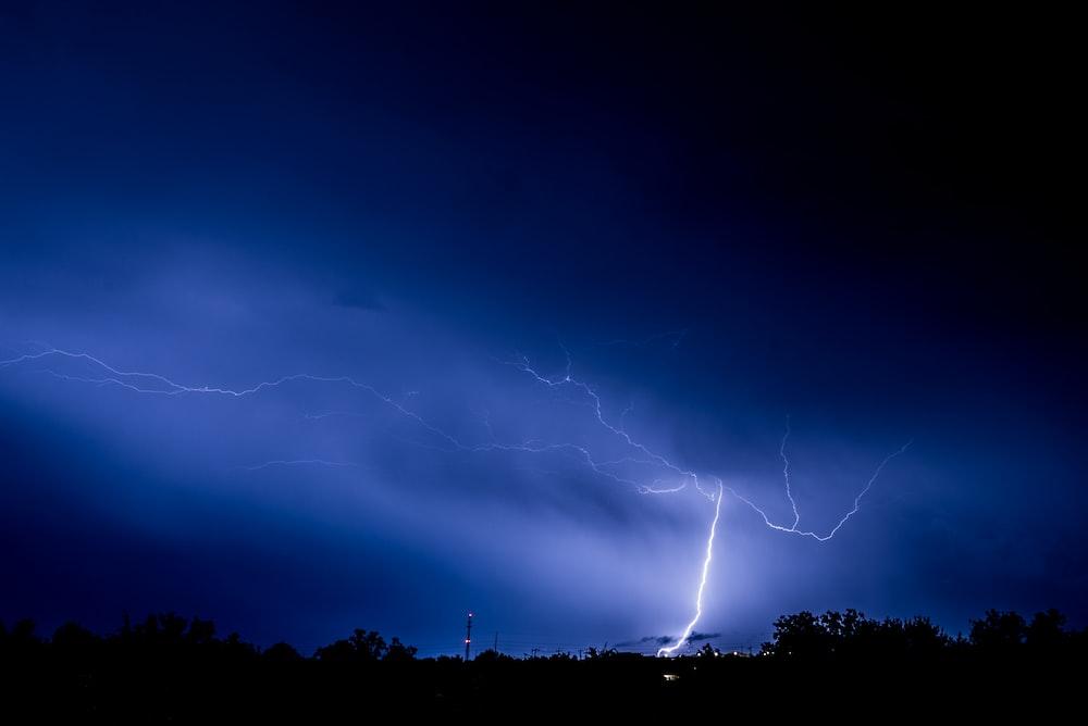 thunder light strike on forest