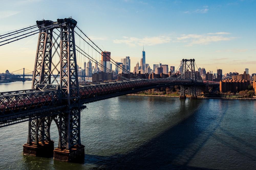 gray steel bridge above body of water