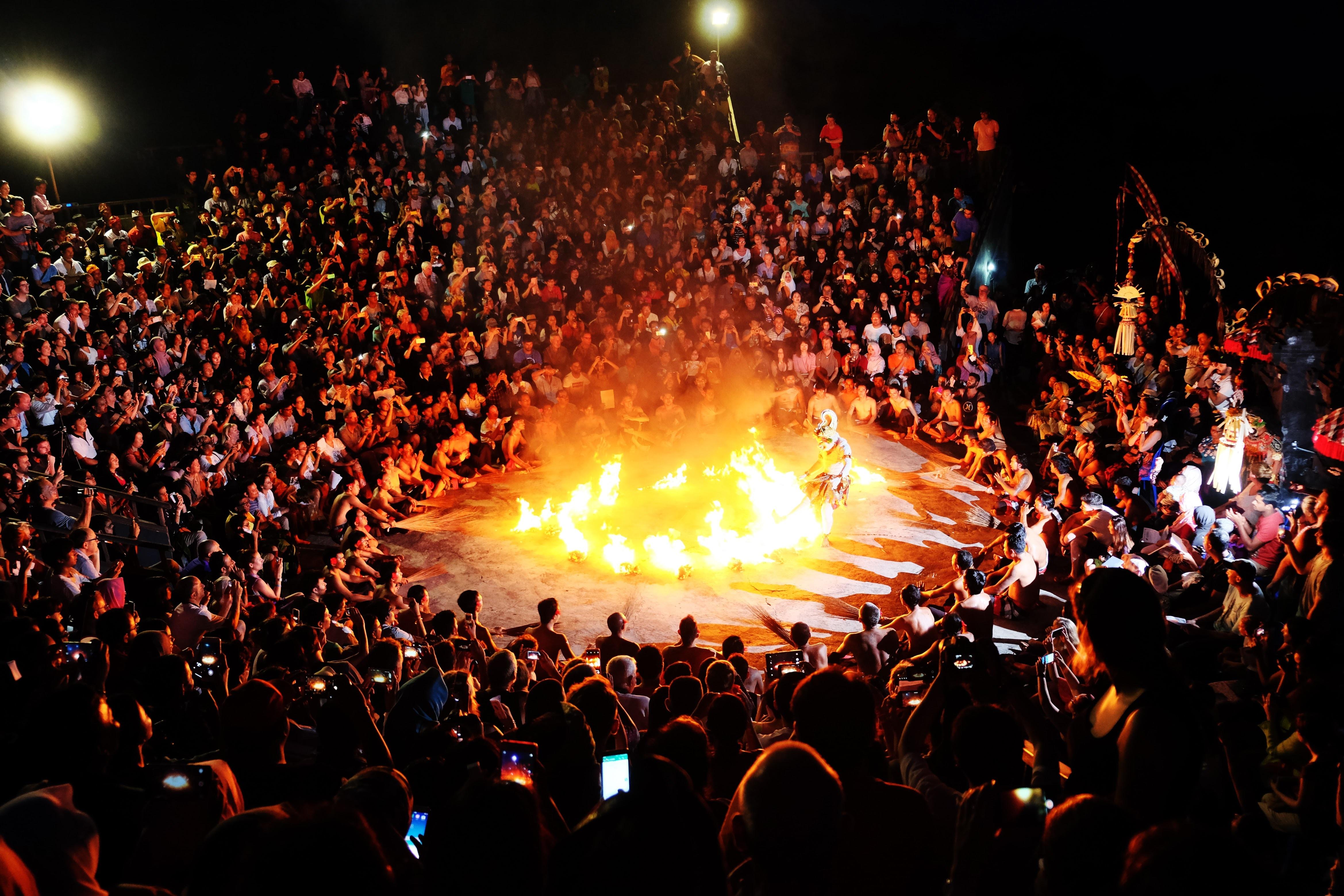fire burning in the dance floor