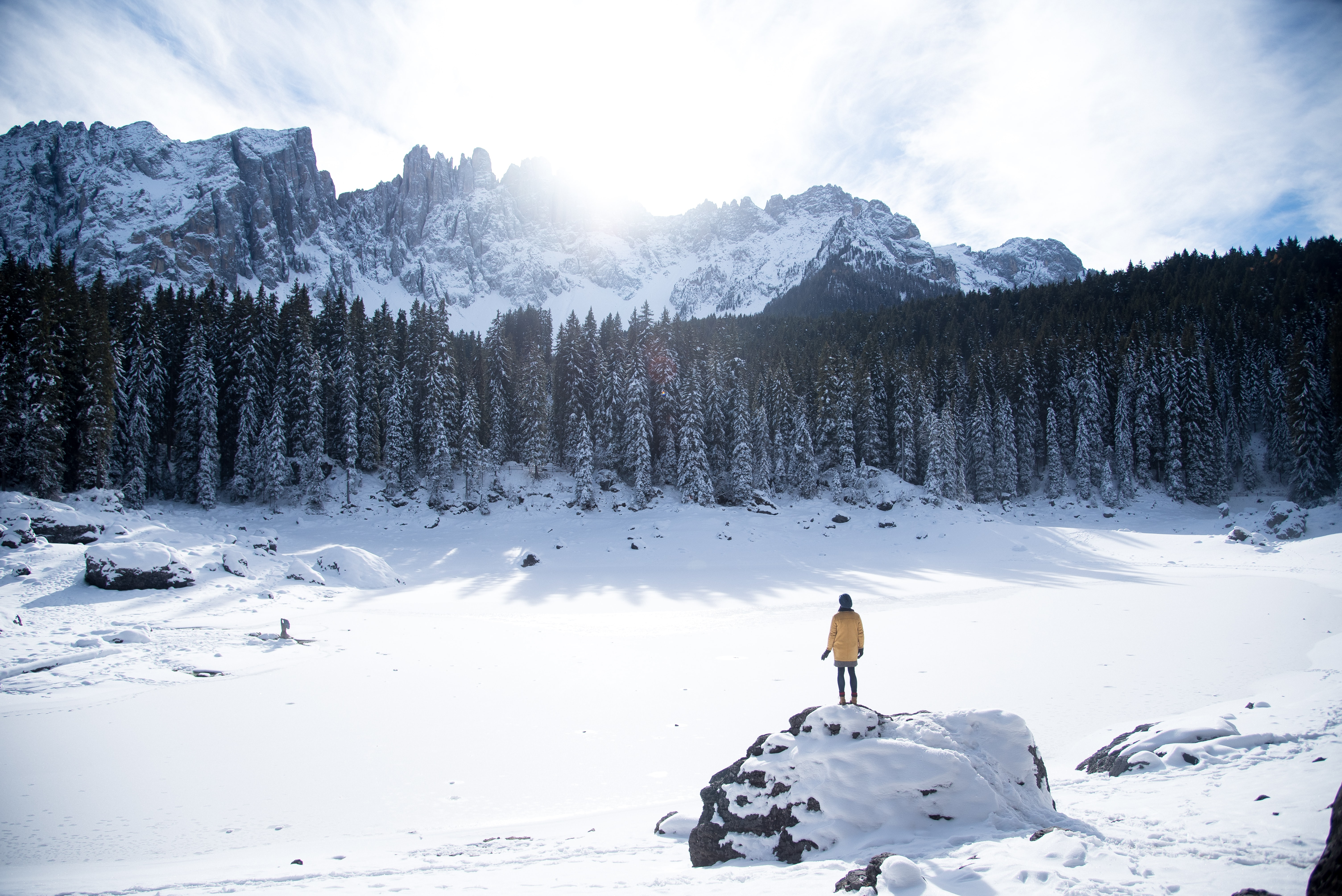 person standing on rack with snow near forest and mountain range