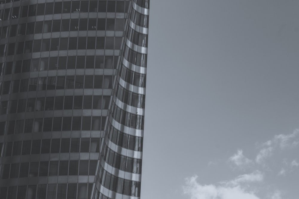 grayscale photo of high-rise building
