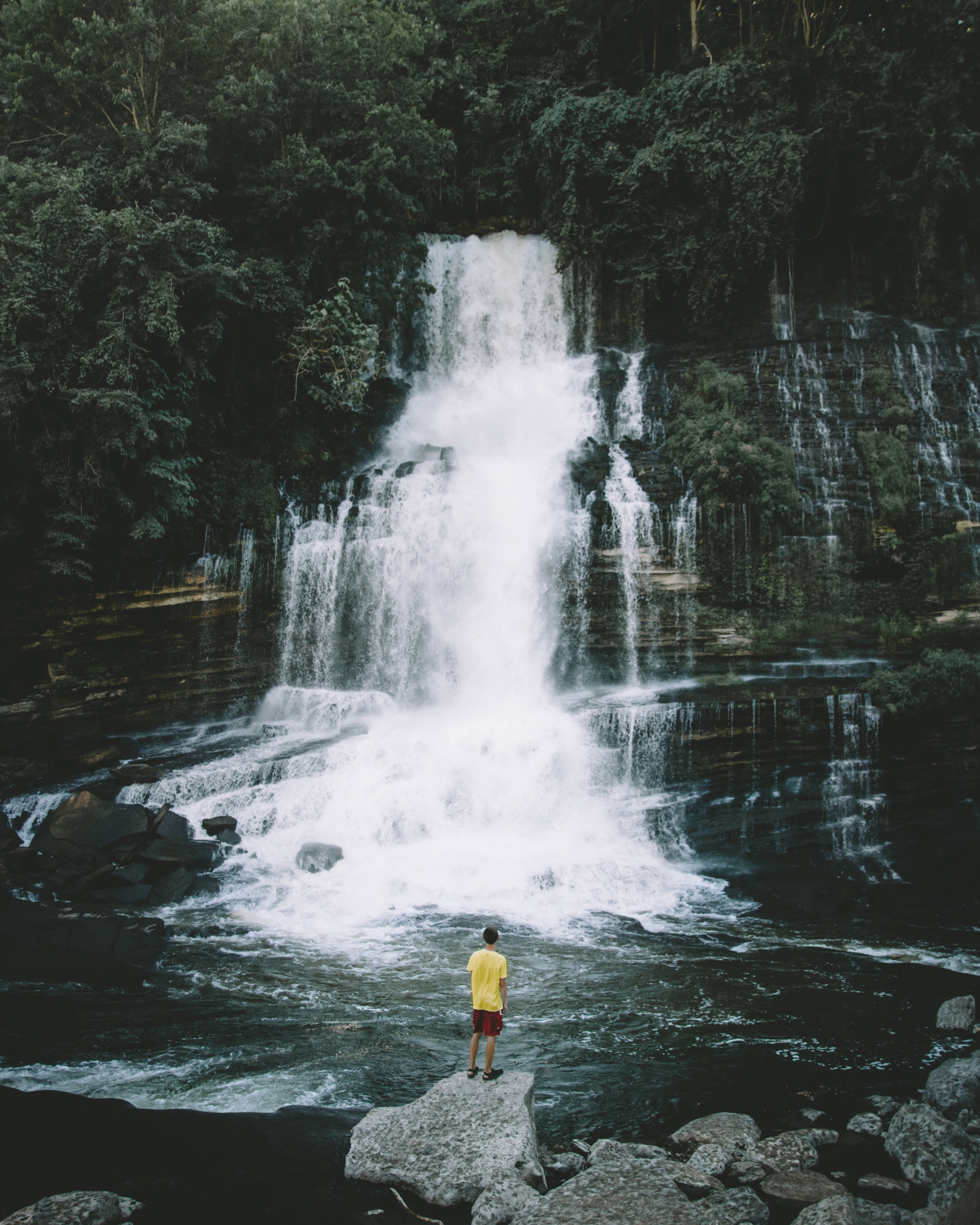 person standing on rock looking at water falls