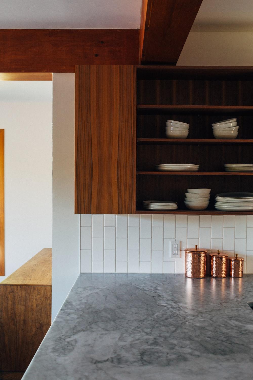 ceramic dish in kitchen cabinets