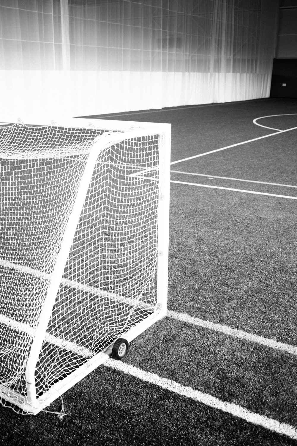 grayscale photography of field net