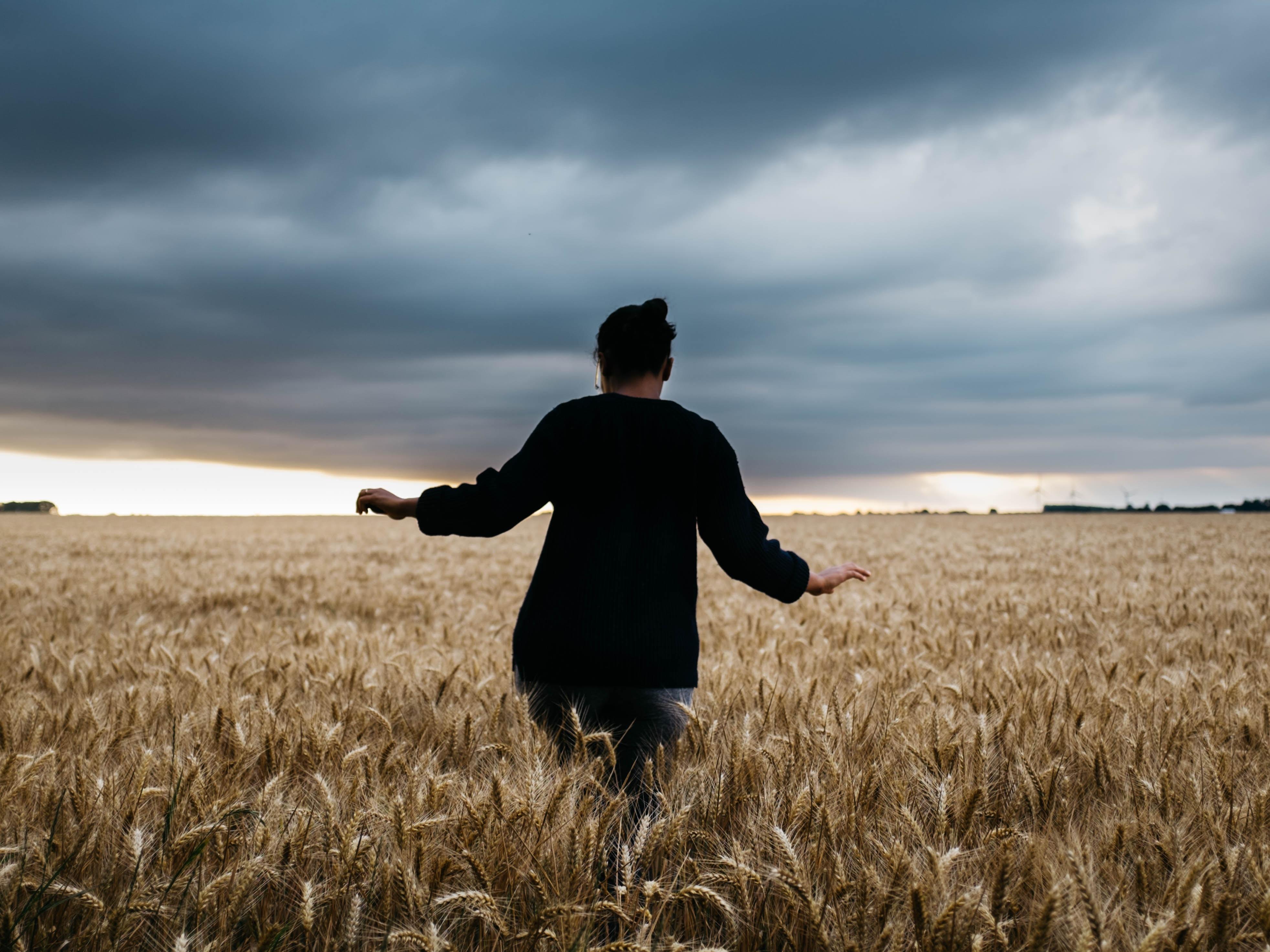 person walking in grass field