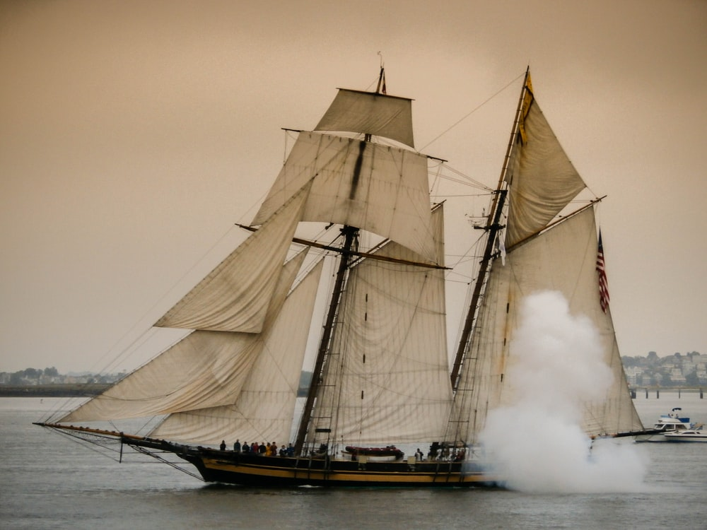 brown and black galleon ship on ocean water under gray sky