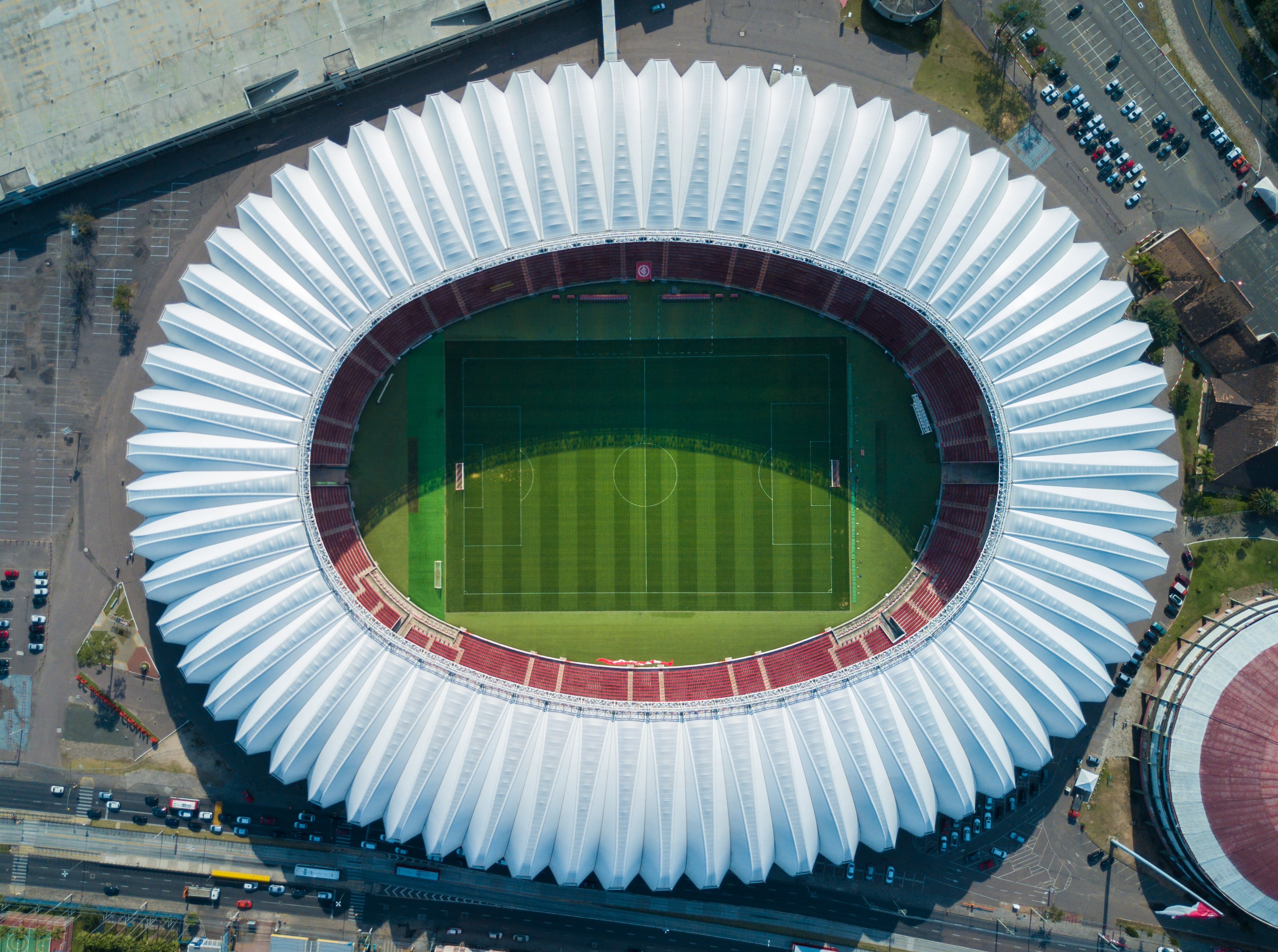 aerial view photography of soccer stadium