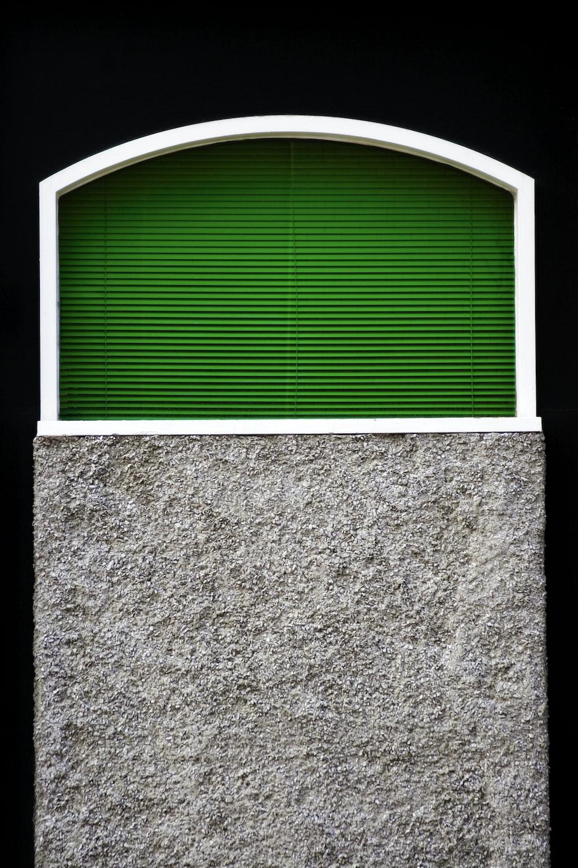 green window blinds