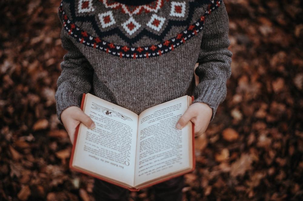 person reading book
