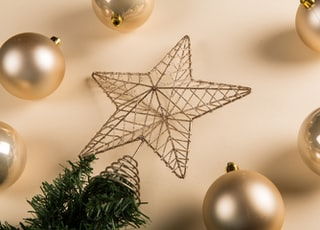 brown gray baubles and star decors