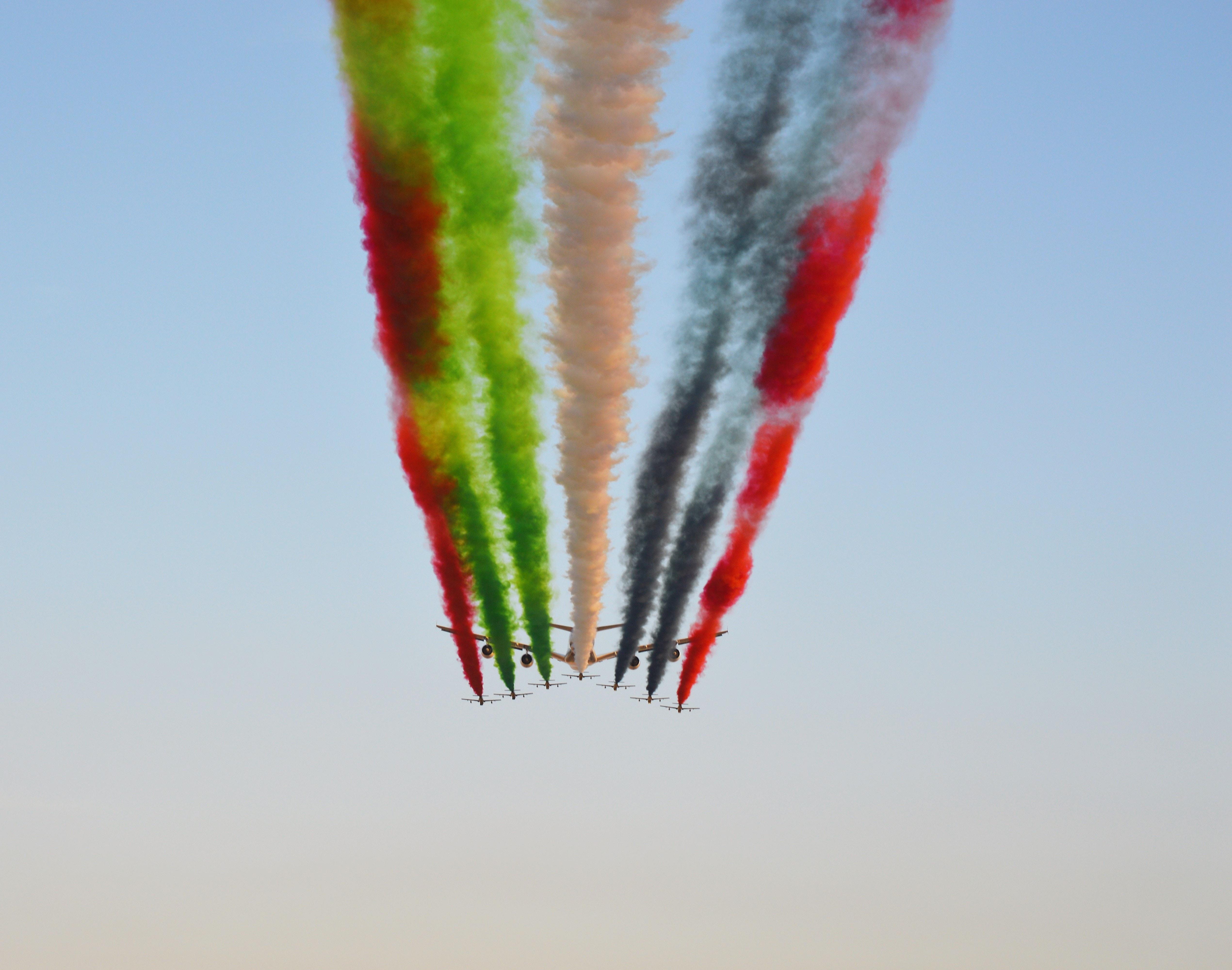 multicolored airshow