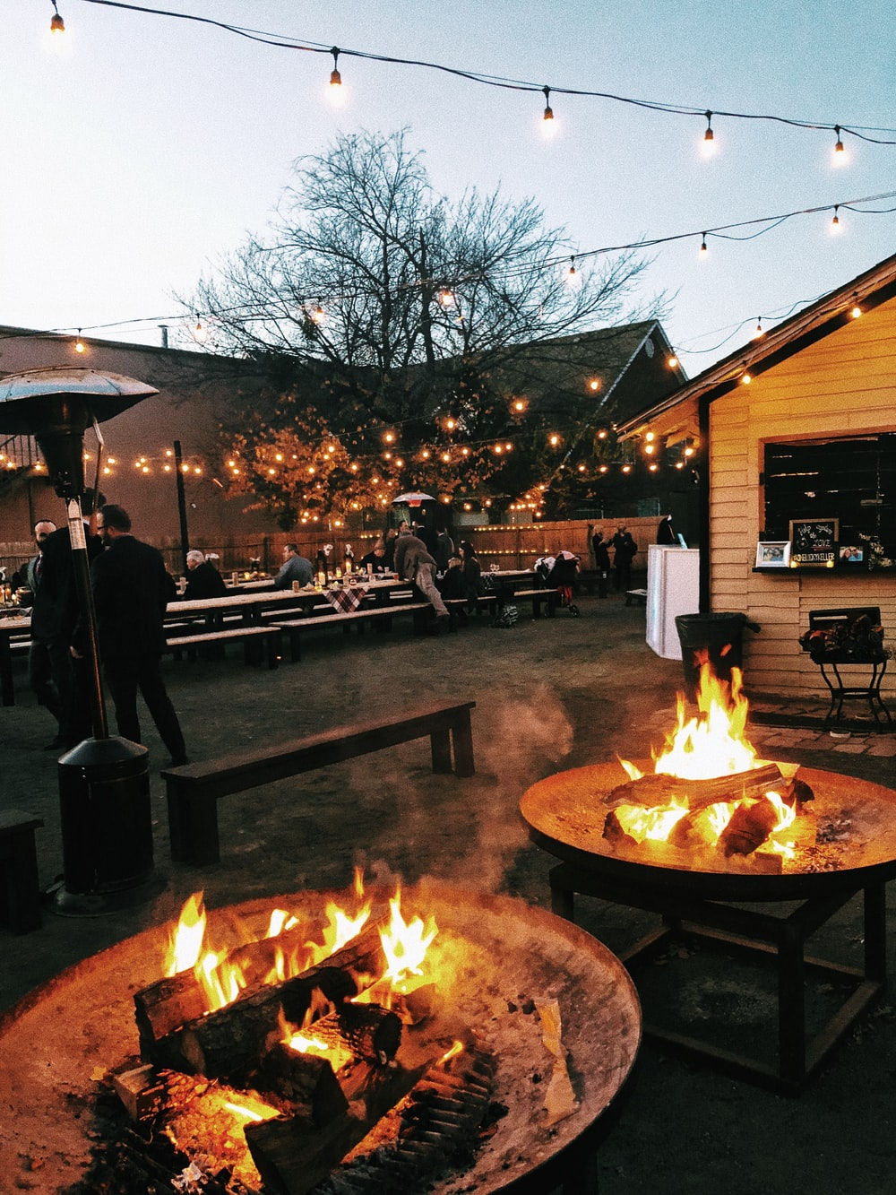 two firepits at the party