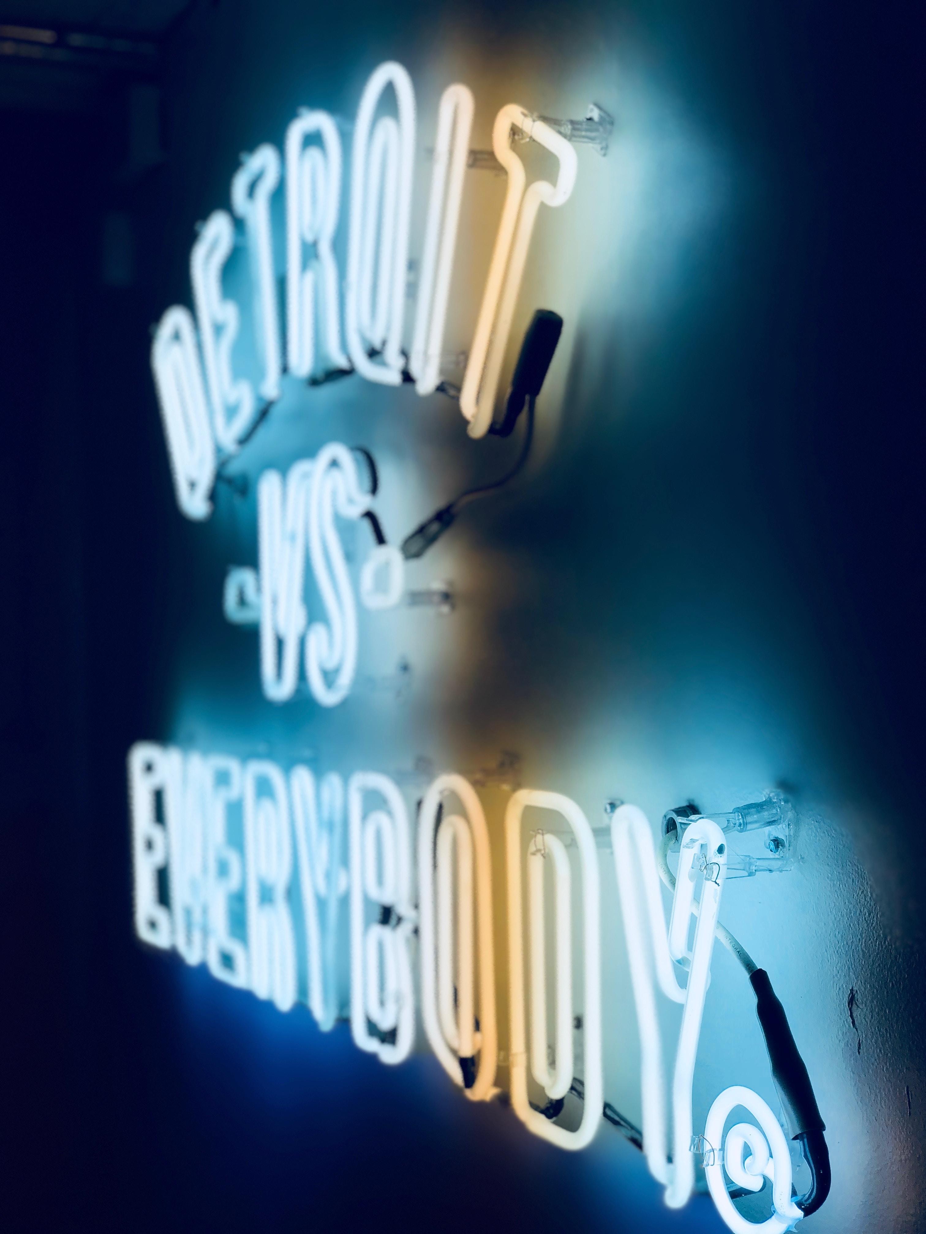 Detroit vs Everybody neon light signage