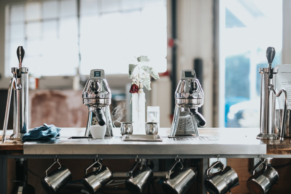 two stainless steel espresso makers