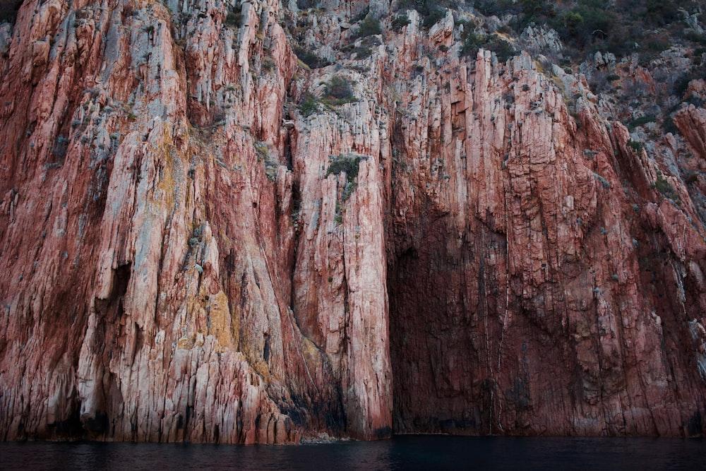brown mountain cliff