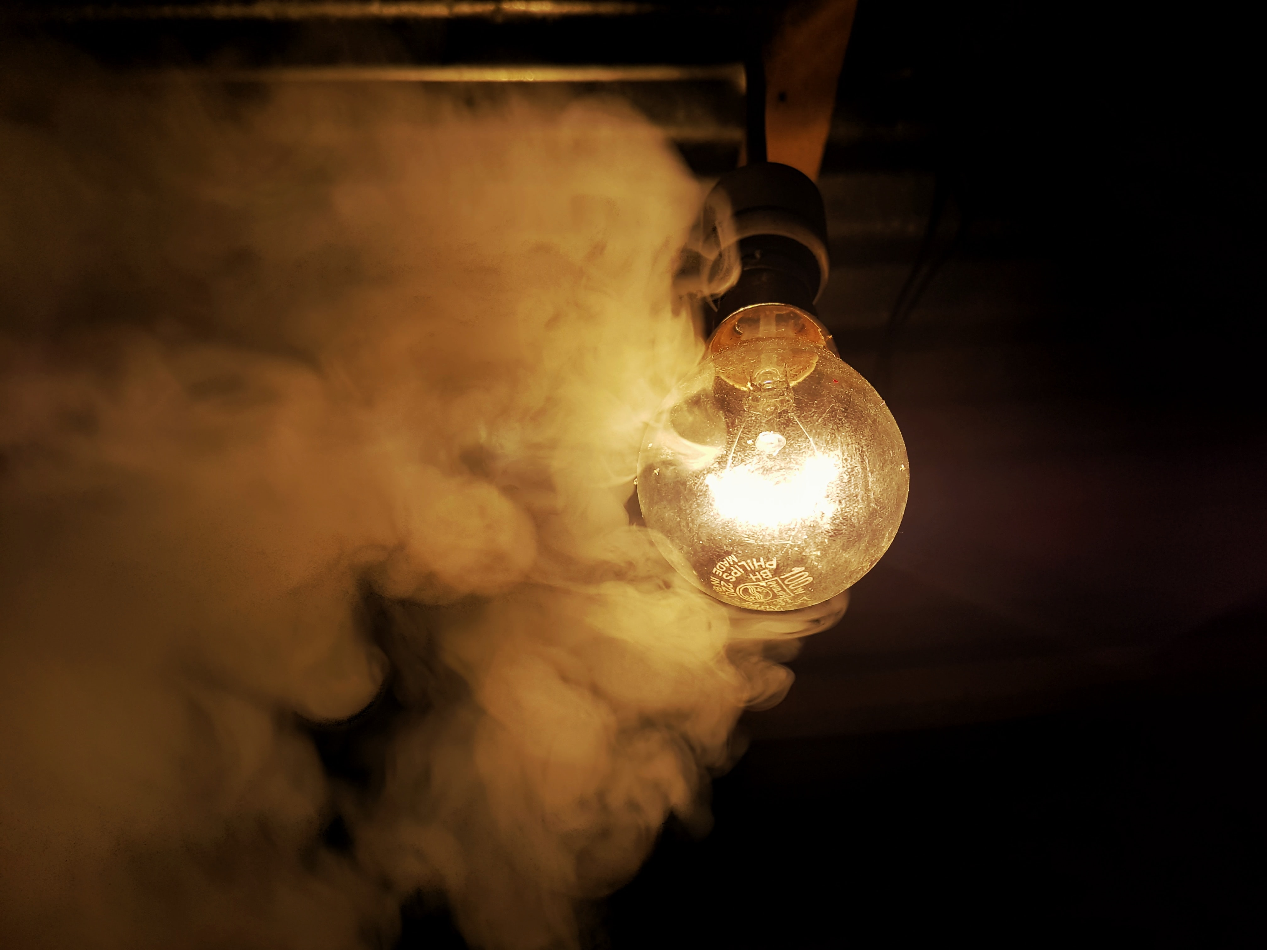 smoke near light bulb