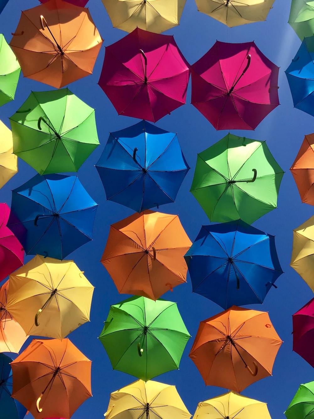 assorted-colored umbrellas