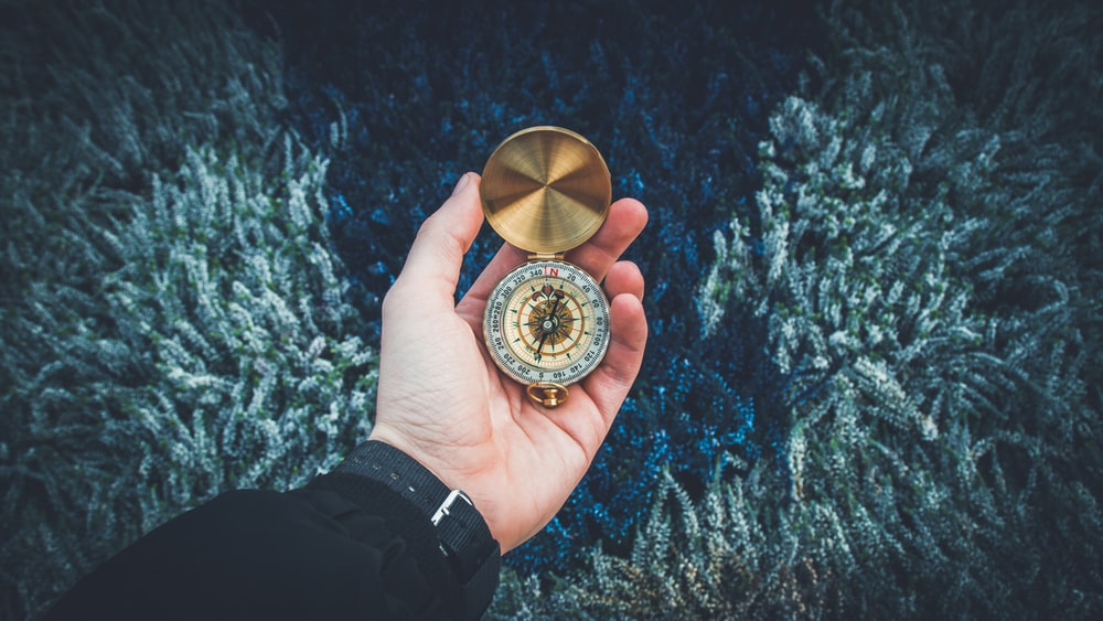 person holding round gold-colored compass