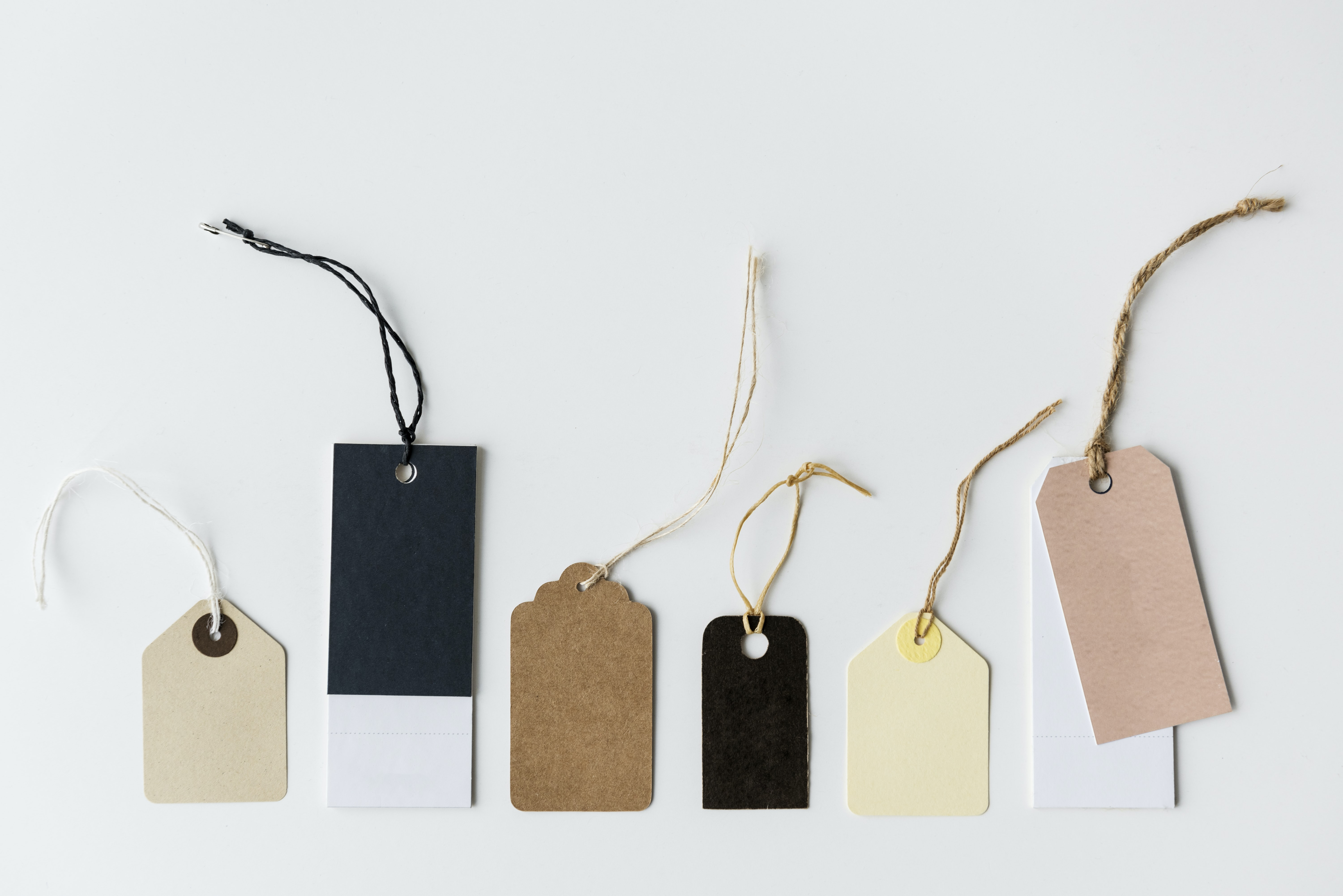 assorted-color tags