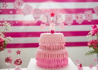pink birthday cake on tabletop