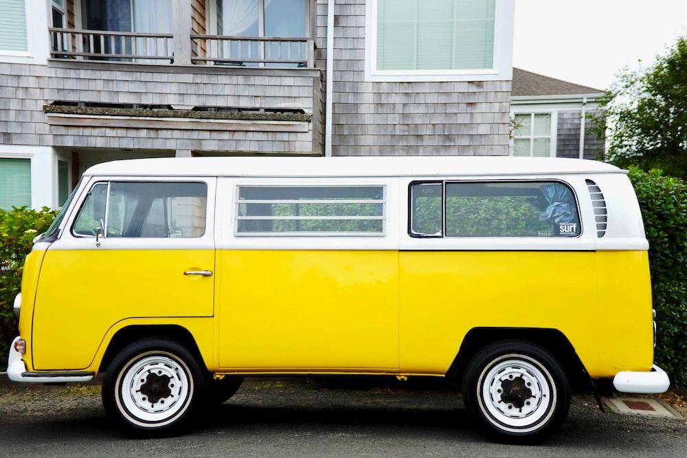 yellow and white Volkswagen Kombi