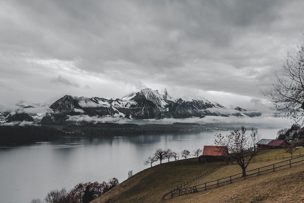 mountain alps near lake
