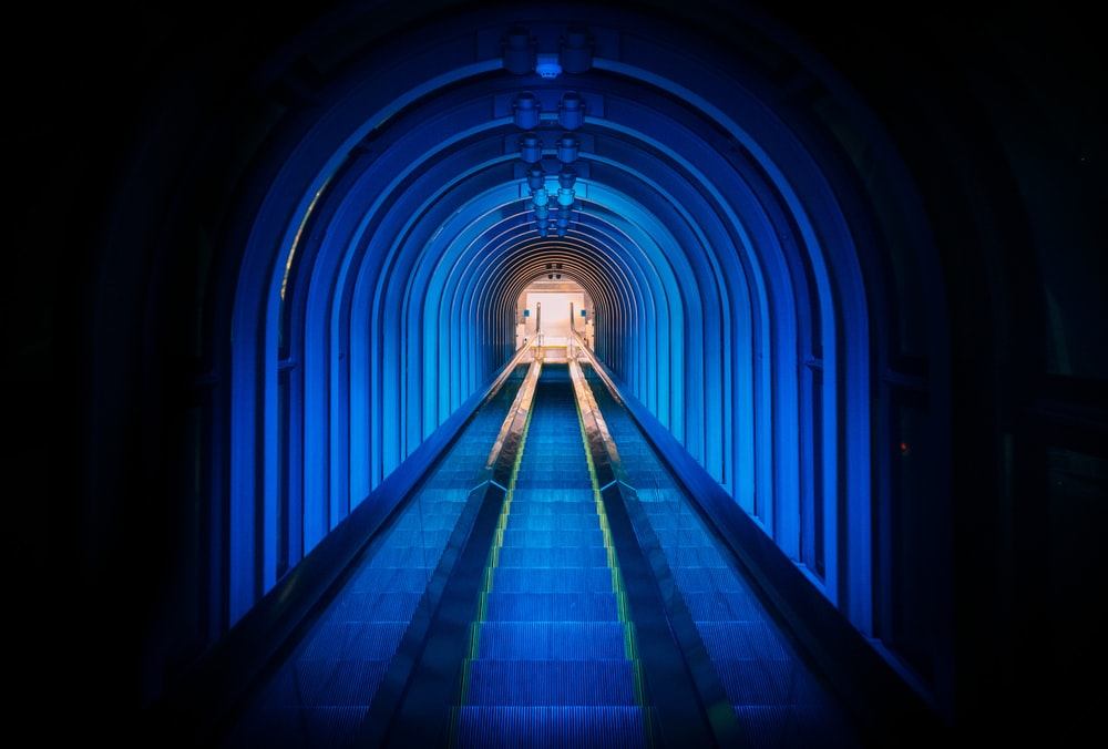 train tunnel with lights